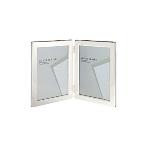 unity 4 x 6 inch portrait double photo frame silver plated - Double Photo Frame