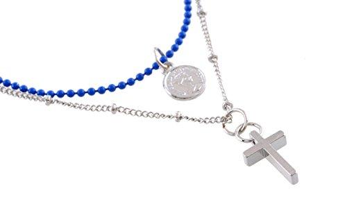 Halskette Dünne Kreuz (Kurze silberfarbene Halskette mit Kreuz - dünne Halsketten - Geschenke für Frauen)