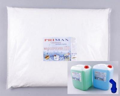 10 kg Primax Waschpulver + 5 Liter grünes Gel + 5 Liter blaues Gel und ein Ausgiesser gratis
