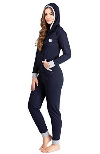 maluuna - Damen Jumpsuit, Onesie, Overall, Einteiler mit Bündchen an Arm- und Beinabschluss aus 100{2119bb2414f9365960ecda3070132986657b5d1f0baa7e772cfd415502c465ee} Baumwolle, Größe:36/38, Farbe:Navy/grau-Melange