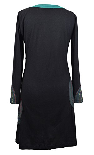 Mesdames robe avec de la broderie Noir