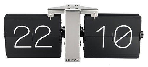 Karlsson Flip Uhr No Case Schwarz, Standfuß Verchrohmt, Metall, Black, 8.5 x 36 x 14 cm