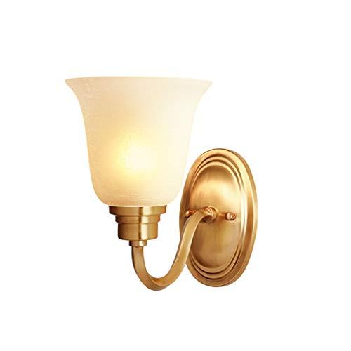 YangMi Wandlampe- All-Kupfer amerikanische Schlafzimmer Wandleuchte, Wohnzimmer Zimmer nachttischlampe, treppenhaus Gang Flur Badezimmer Lampe (Farbe : Messing, größe : 18x22cm)