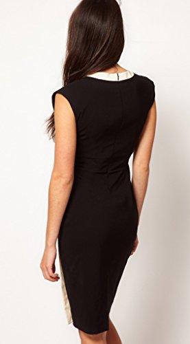 Bigood Robe Elégante Femme Grande Taille Sans Manche Soirée Cocktail Mariage OL Costume Noir