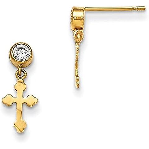 Madi 14 K con croce in zirconia cubica, per orecchini, JewelryWeb