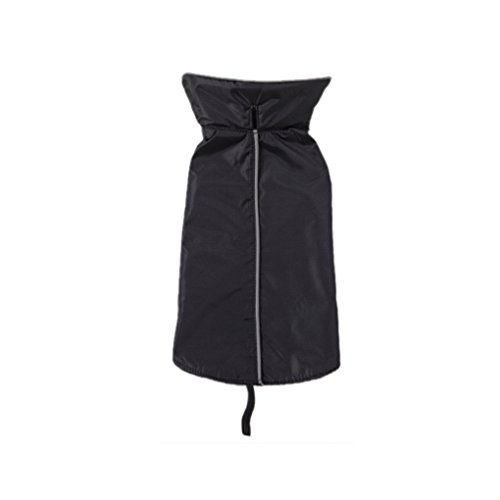 QHGstore Wasserdichte Hundeweste Mantel-Jacke Raincoat Reflective Fleece Hunde-Bekleidung Schwarz& S