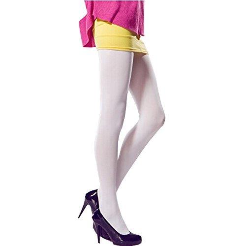 Mydio 2Pack 120Denier Damen weiß Blickdicht Mikrofaser Strumpfhose, mit Fuß, Set von 2 - 120 Denier Strumpfhose