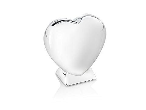 Zilverstad 7280261 Spardose Herz auf Fuss 9 x 4 x 9 cm, versilbert anlaufgeschützt (Herz Fuß)