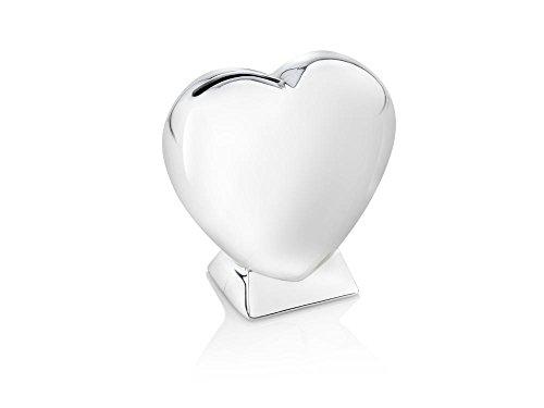 Zilverstad 7280261 Spardose Herz auf Fuss 9 x 4 x 9 cm, versilbert anlaufgeschützt