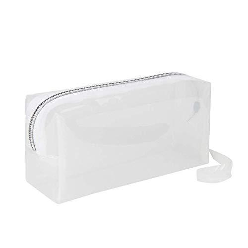 Bolso grande de bolígrafos transparentes con cremallera para cosméticos, estuche para lápices (blanco transparente)