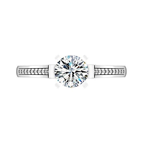 ng Silber Ring für Frauen Round 4 Prong mit weißen Zirkonia CZ Verlobung Ehering Ring Größe 61 (19.4) ()