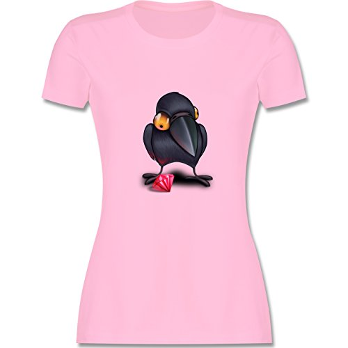 Vögel - Krähe mit Juwel - tailliertes Premium T-Shirt mit Rundhalsausschnitt für Damen Rosa