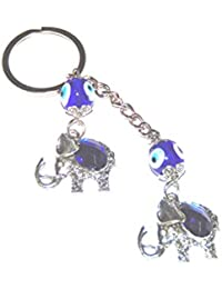 Aai Blue Evil Eye Double Elephant Charm Key Ring Metal Keychain