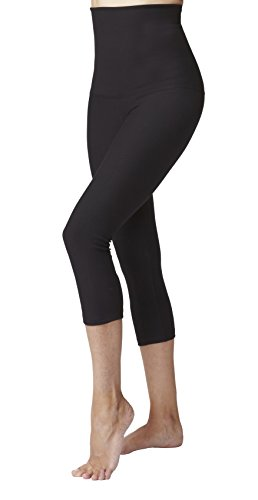 Women's Lightweight Tummy Control High Waist Crop Pant/Cropped Leggings-Black-Medium (40) -