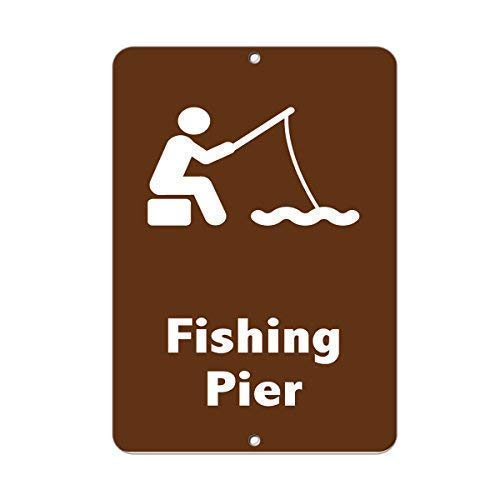 Vincentney New Tin Sign Fishing Pier Activity Sign Park Signs Fishing Metal Sign Aluminum 8x12 INCH
