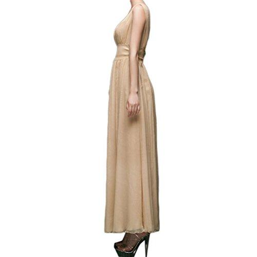 Nanxson(TM) Robe De Soirée Cocktail Sans Manches Col En V Maxi Pour Femmes LYQ0217 couleur chair