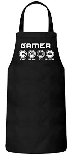 ShirtStreet Geschenkidee für Gamer Gaming Frauen Herren Barbecue Baumwoll Grillschürze Kochschürze Gamer - Eat Play TV Sleep, Größe: onesize,Schwarz