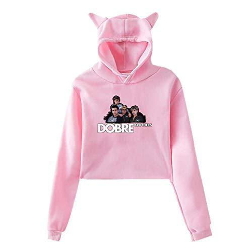 UfashionU Jugend Mädchen Katze Ohr Hoodie Dye Dobre Brothers Print Pullover Kapuzen Sweatshirt Hoodies für große Mädchen Kleidung (Pink, XL) -