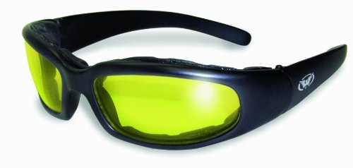 Global Vision Chicago Padded Riding Glasses (Black Frame/Yellow Lens) by Global Vision Eyewear