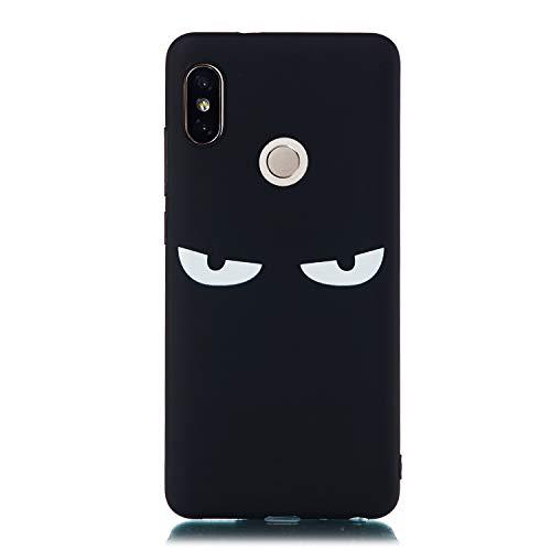 Artfeel Schwarz Weich Silikon Hülle für Xiaomi Redmi Note 5 Pro,Cool Augen Karikatur Muster Ultra Dünn Leicht Zurück Handyhülle,Flexibel TPU Bumper Stoßfest Schutzhülle -