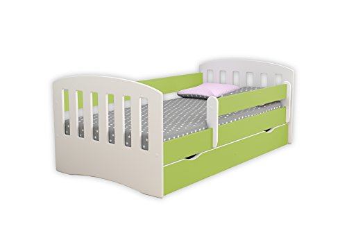 Children's Beds Home Lit Simple Classique 1 Enfants Enfants Toddler Junior TIROIRS Matelas en Mousse de 8 cm Inclus (Vert, 180x80)