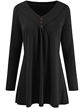 Yvelands Blusas para Mujer Tallas Grandes, Mujer Otoño Vestido Suelto Botón con Cuello en V Camisa de Manga Larga...