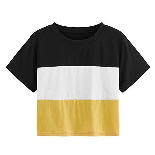 CixNy Damen T Shirts, Kurzarm Bluse Camisole Trägershirts Sommer Beiläufig O-Neck Tricolor Kontrastfarbe Crop Vest Weste Oberteil Tops (Gelb, XX-Large)