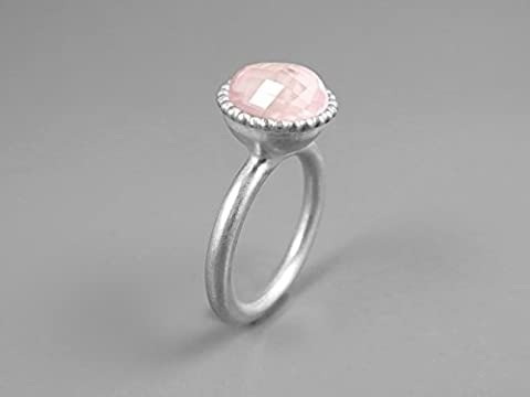 Bright Blush Pink Rose Quartz 925 Sterling Silver Ring For Women Handmade Ring Custom Ring Statement Ring Solitaire Ring Unique Ring Faceted Round Large Gemstone Quartz Jewelry Promise Ring For