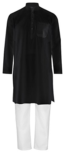 Maharanis Fairtrade Traditioneller indischer Kurta Pajama, Yoga-, Massage-, Wellnessanzug aus feiner Baumwolle in schwarz weiß S (Indische Herrenbekleidung)