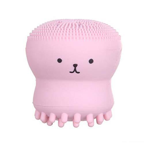 Octopus Schäumende Flasche Silikon Waschbürste Gesichtsreiniger Bubbler Bad Waschbürste Bubbler Peeling Reinigungsbürste(Rosa) Jasnyfall -