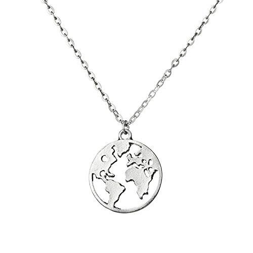 Damen-Halskette mit Weltkarte geometrischer Halskette rund Anhänger Vintage Kreis Halskette Choker Personalisierte Halskette Schmuck Erde, metall, silber, Einheitsgröße