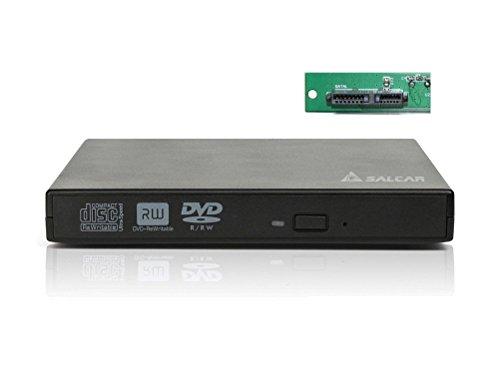 Salcar Laufwerksgehäuse extern SlimLine SATA USB2.0 für CD/DVD Laufwerk Brenner, 12,7 mm Dicke der SATA-Schnittstelle (Schwarz)