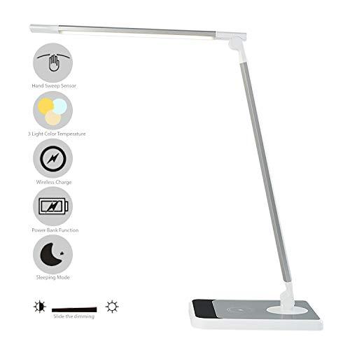 Glamexx24 Lampe de table à LED 5W dimmable avec port de charge USB et lampe de chevet repliable à température de couleur pour la chambre à coucher