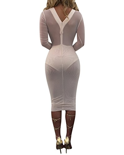Donna Prospettiva Vestito Casual Slim Senza Schienale V-collo Maniche Lunghe Vestiti Bodycon Midi Abito Bianco