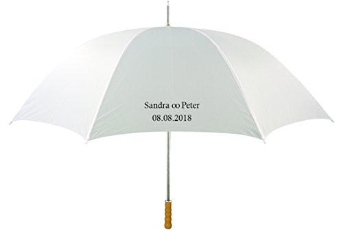 Regenschirm mit Name, Text nach Wunsch, Hochzeitsschirm, weiß, großer Schirm individualisiert - alles Einzelstücke, 1 x Druck schwarz o. weiß; Mitteilung Text nach Bestellung Verkäufer kontaktieren