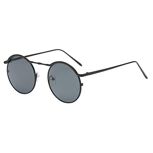 EUCoo Kleine Sonnenbrille Unisex-Mode Fein Metall Brillengestell Runde Sonnenbrille(A)