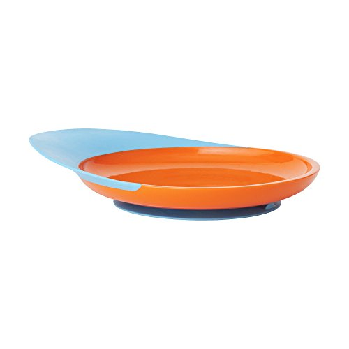 Boon CATCH PLATE Kinderteller - BPA-, Phtalat- und PVC-freier rutschfester Teller mit praktischer Auffangschale für die ersten Essversuche ab 9 Monaten - orange - blau - Orange Mikrowelle