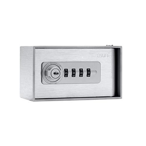masunt Schlüsseldepot 520 M Code | hochwertiger Schlüsselsafe mit Zahlenschloss | Aufbruch-sicher | aus massivem V2A Edelstahl | für Außenbereich geeignet | kompakte Größe | Silber