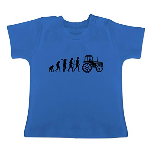 Evolution Baby - Evolution Traktor - 6-12 Monate - Royalblau - BZ02 - Baby T-Shirt Kurzarm -