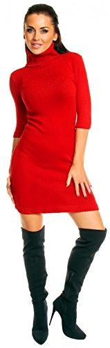 Zeta Ville - Damen Strick-kleid mit Rollkragen Minikleid halblangen Ärmeln 125z Rot