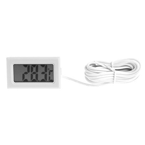Cuigu LCD-Digitales Thermometer für Aquarium, Temperaturmessung, Hygrometer Probe Line: 2m weiß - Digital Probe Thermometer