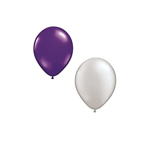 (DeCoArt....... Set Preis 50 Luftballons je 25 x perl Silber und perl lila ca. 28 cm Durchmesser und 50 Ballonverschlüsse Polyband weiß sowie EIN weißes Aufblasventil sowie Merkblatt)