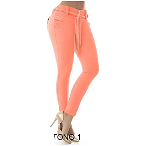 Vaquero Naranja Squeezed Orange Jeans Push Up Vaquero Mujer Estilo Colombiano Súper Fix Skinny Wonder Súper Push Up Slim Skinny Enterizo Jeans Vaquero 100% Colombianos Levanta -Push Up