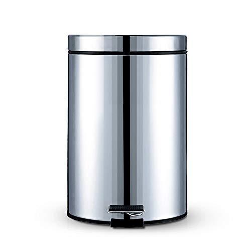 FGKLU Cubos de Basura de Pedal Redondo, Papelera de Metal 5L, con Cubo Interior de Plástico Extraíble...
