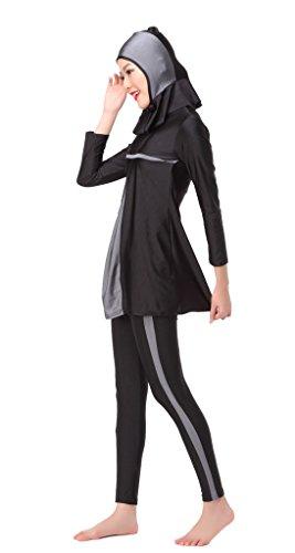 GladThink Frauen-muslimischen Burkini 3-Stück-Badeanzug Bademode Grau
