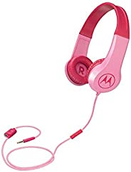 Motorola Squads 200, Kids Wired Headphones with Anti-Allergic Cushion, Enhanced Bass, In-Line Mic and Voice As