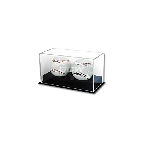 BCW Deluxe Acrylic Double (2) Baseball Holder Display - Sports Memoriablia Display Case - Sportscards Collecting Supplies -