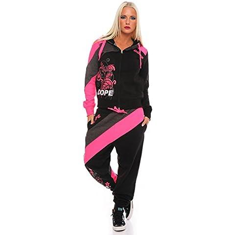 Tuta da jogging da donna tuta Tempo Libero, casa, per fitness, 2divisori taglia S M L XL, 1445, Donna, nero, S/36