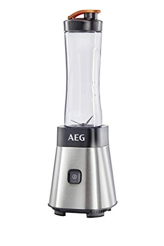 AEG Standmixer SB2500 (300 Watt, 2 x 0,6l transparente, skalierte spülmaschinenfeste Tritan-Trinkflaschen, Kälte- und hitzebeständig, Smoothies, Bowls, Sorbets) Edelstahl/Schwarz