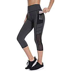 Joyshaper Leggings de Mujer para Gym con Bolsillos Pantalones Mallas Capris Piratas de Malla Señora Chica Elásticos Ajustados (Gris, Medium)